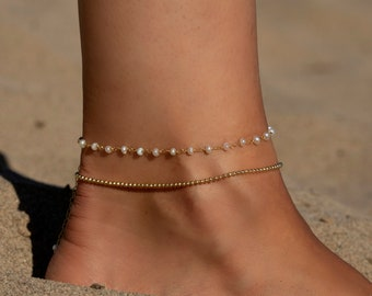 Silver Gold Rose Elegant Beach Jewelry Delicate Tiny Oval Pearl Ankle Bracelet Dainty Freshwater Pearl Anklet White Pearl Foot Bracelet