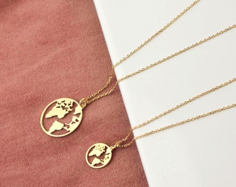Earth layering necklace Globetrotter gift World map necklace Gold World necklace Minimalist jewelry. Traveller Silver Globe necklace