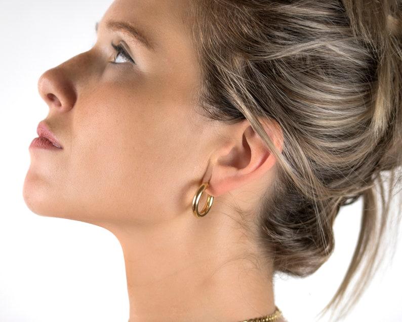 d489c53ce6f815 Chunky gold hoop earrings Minimal hoops Dainty gold | Etsy
