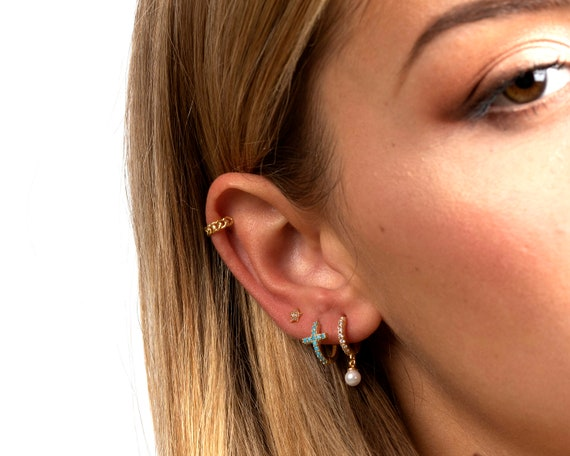 huggie-earrings,-dainty-cz-gold-hoops,-pearl-hoop-earrings,-pearl-hoops,-cz-hoops-pearl,-gold-hoop-earrings,-dainty-earrings,-tiny-hoops by etsy