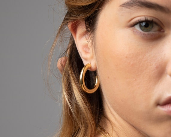 Chunky gold hoop earrings, Minimalist silver hoops, Dainty gold earrings, Dainty hoops, Delicate hoop earrings, Minimalist jewelry