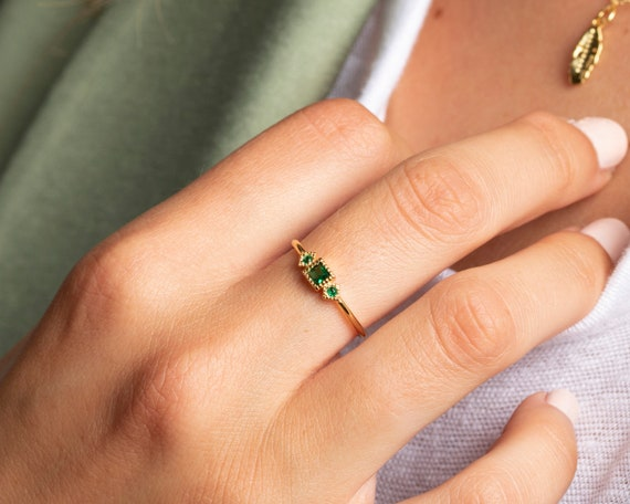 emerald-ring,-dainty-ring,-gold-ring,-silver-ring,-gold-emerald-cz,-delicate-ring,-minimalist-ring,-promise-ring,-engagement-ring by etsy