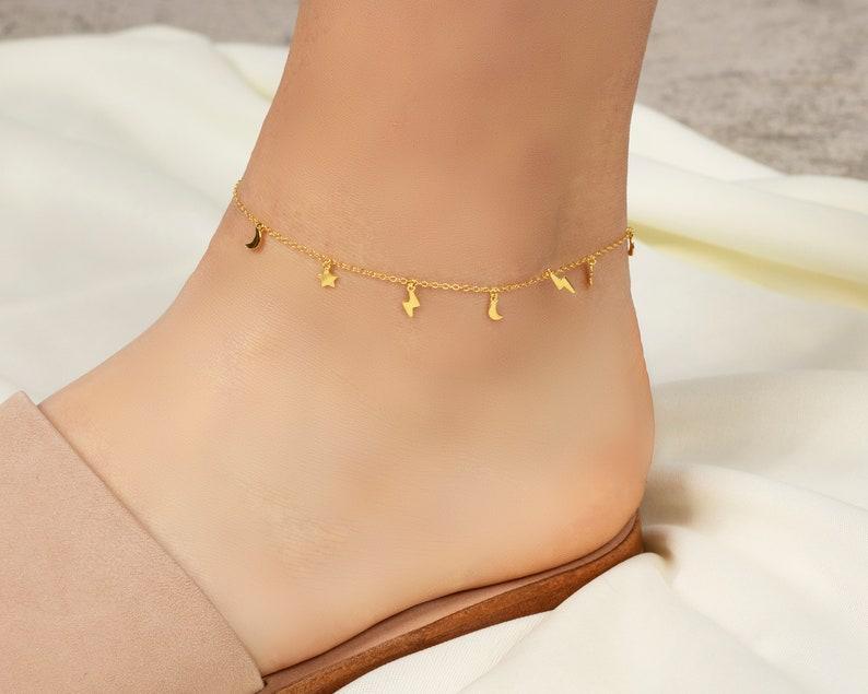 Tiny Star Anklet Beaded Anklet Star Anklet Ankle Bracelet Star Beach Anklet