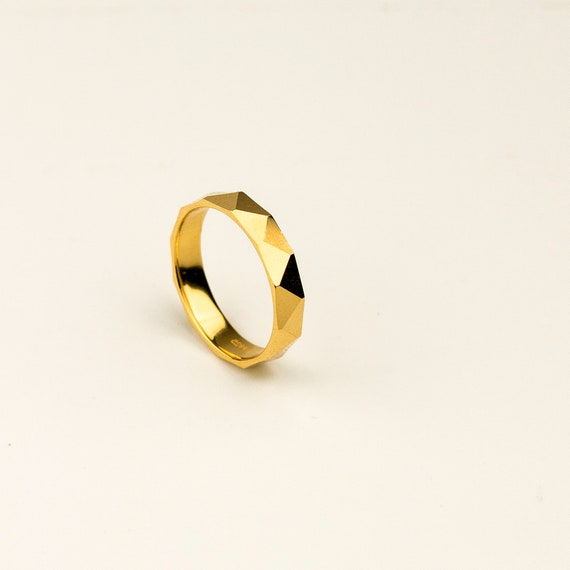 4mm-faceted-band-ring,-gold-band-ring,-925-sterling-silver,-dainty-ring,-minimalist-ring,-ring-for-men,-ring-for-women,-minimalist-jewelry by etsy