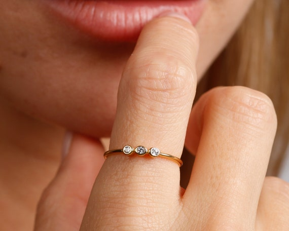 stacking-gold-ring,-three-cz-minimalist-gold-ring,-dainty-ring,-cz-ring,-engagement-ring,-promise-ring,-minimalist-ring,-tiny-ring-gold by etsy