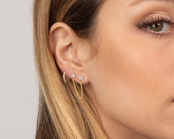 christmas minimalist jewelry handmade earrings dangle silver chain Long ear jackets gift for her dainty earrings delicate silver stud