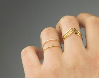 Super Thin 18k Gold Stackable Ring, Thin ring, midi ring, skinny gold ring ,simple gold ring, minimal gold ring, thin gold ring, Gold Ring