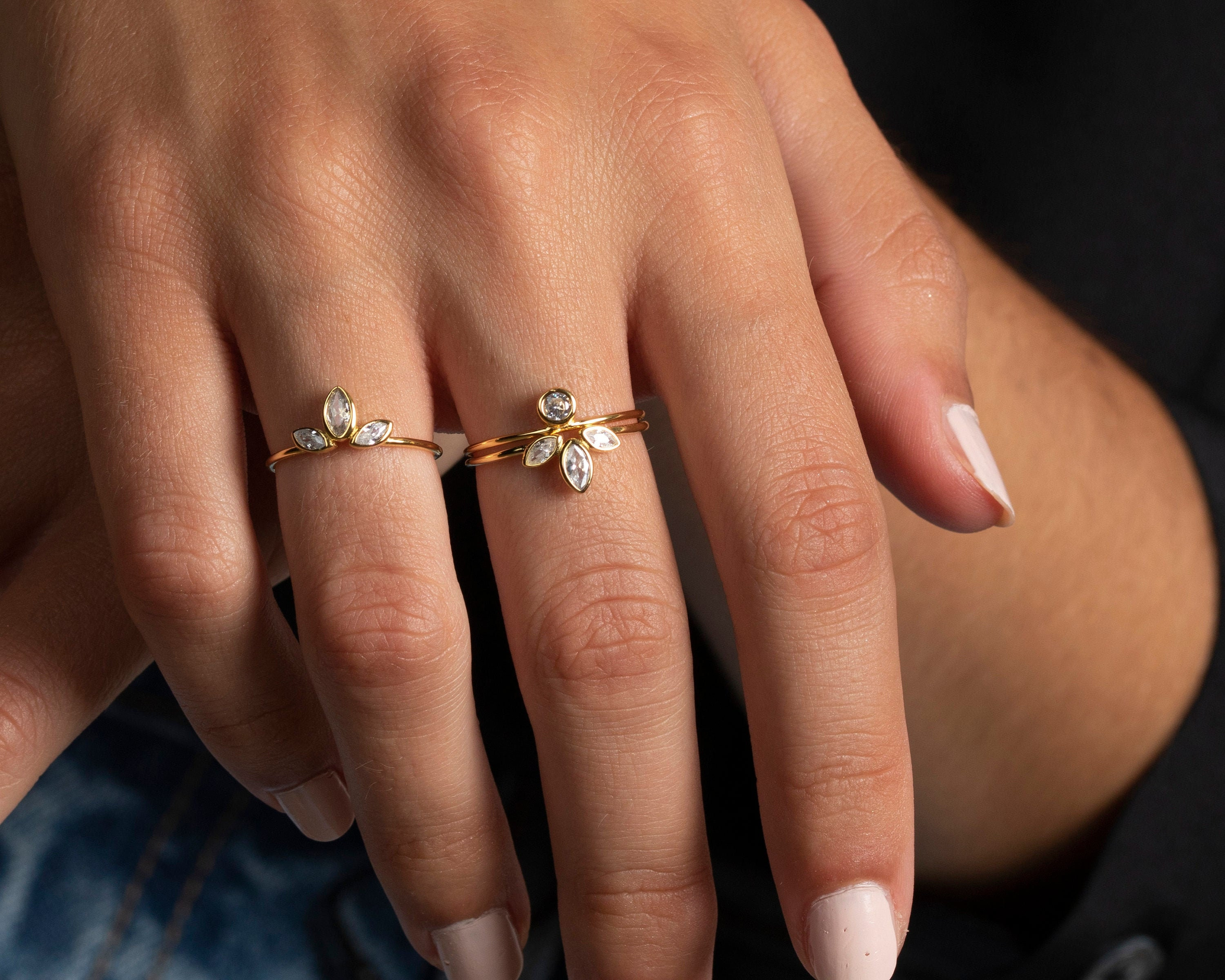 Crystal ring Statement ring Minimalist jewelry Stacking ring Band ring Thin gold ring Cz Stackable ring Dainty ring Minimalist ring