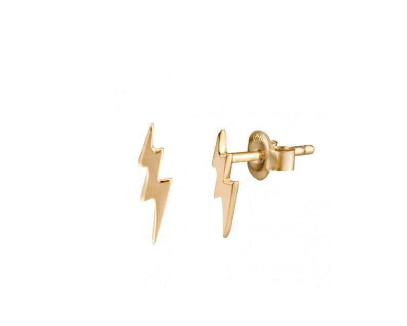 3890de334 Thunderbolt earrings Lightning bolt stud earrings Flash gold | Etsy