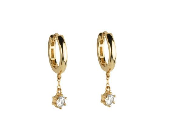 huggie-hoops-gold,-dainty-earrings,-cz-dangle-charm-hoops,-minimalist-hoops,-delicate-hoops,-dainty-hoops,-minimalist-jewelry,-cz-hoops by etsy