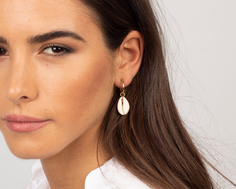 Cowrie shell earrings Shell earrings Shell hoops Cowrie image 0