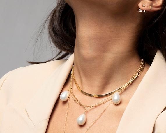Herringbone Choker Necklace, Gold Choker, Snake Chain Necklace, Snake Chain Choker, Gold Necklace, Dainty Necklace, Dainty Choker by Etsy