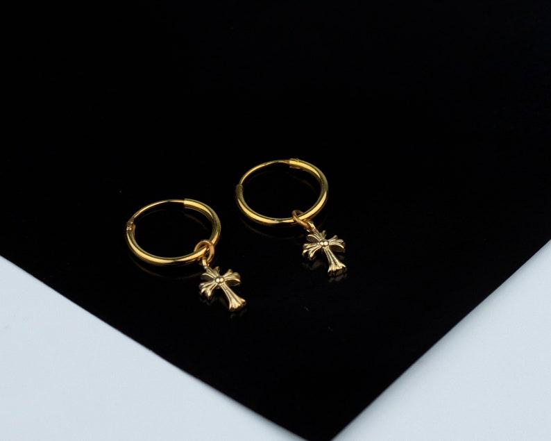 X Earrings Dainty earrings Gold Cross Earrings Earrings with Cross charm Tiny hoops Tiny gold hoops Silver Cross Hoop Earrings