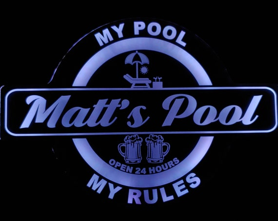 Custom Pool Sign, Barn, Garden, Shed, Gazebo or Shack Led Wall Sign Neon Like - Color Changing Remote Control - 4 Sizes Free Shipping