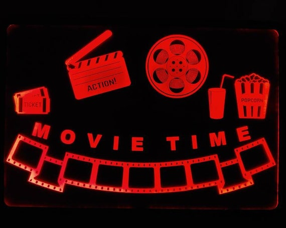 Movie Time home theater Led Wall Sign Neon Like - Color Changing Remote Control - 4 Sizes Free Shipping