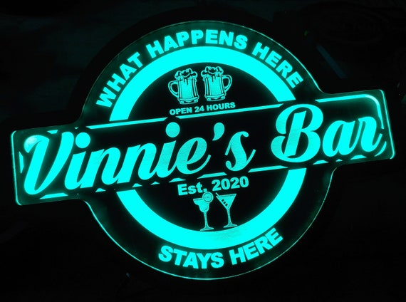 Custom Bar Led Wall Sign Neon Like - Color Changing Remote Control - 4 Sizes Free Shipping