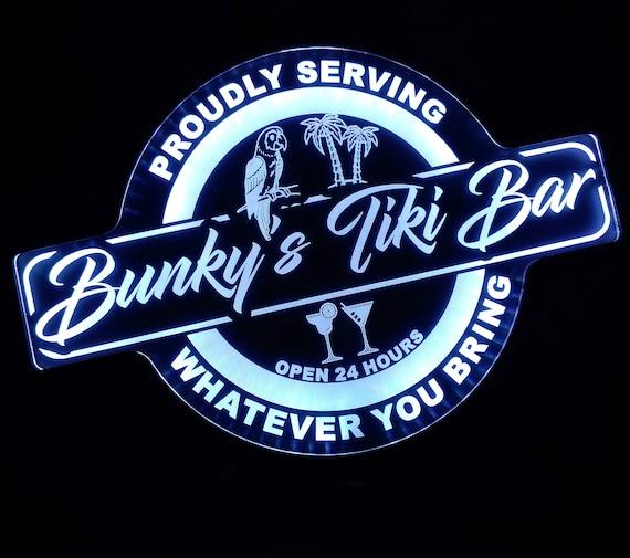 Custom Tiki Bar Color Changing Acrylic Wall Led Night Light Neon Like   4 Sizes Free Shipping