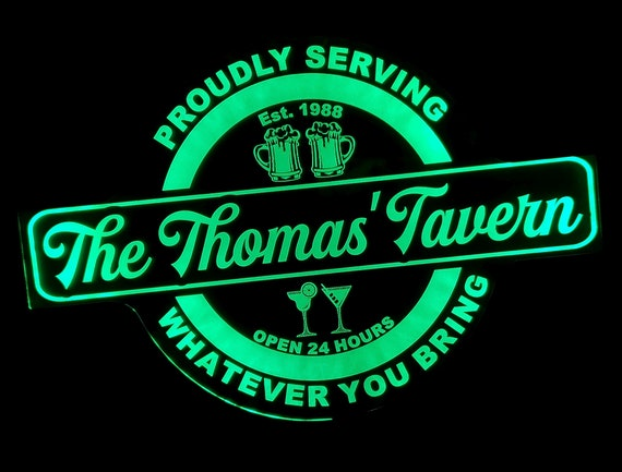 Custom Tavern or Bar Led Wall Sign Neon Like - Bar Sign - Neon Sign - Color Changing Remote Control - 4 Sizes Free Shipping