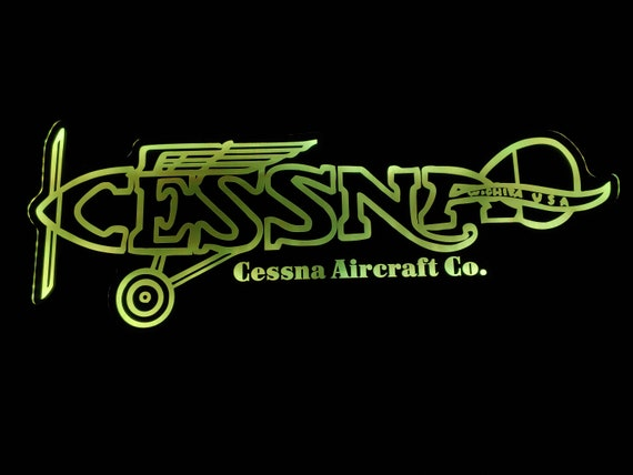 Vintage Cessna Acrylic Led  Wall Sign - Night Light Neon Like - Color Changing - 2 Sizes - Free Shipping
