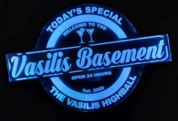 Custom Basement Bar Cave Man Led Wall Sign Neon Like - Color Changing Remote Control - 4 Sizes Free Shipping