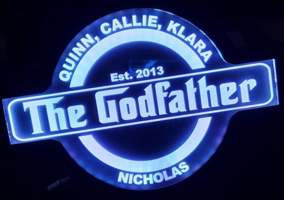 Godfather Grampa Grandfather Custom Acrylic Wall Led Sign Night Light Neon Like Dual Power Color Changing 4 Sizes Free Shipping