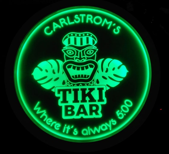 Custom Tiki Bar Sign LED Wall Sign Neon Like - Color Changing Remote Control - 5 Sizes Made in USA Free Shipping