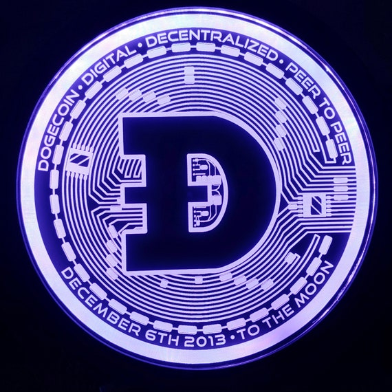 Dogecoin Light Sign LED Wall Sign Neon Like - Color Changing Remote Control - 4 Sizes Made in USA Free Shipping