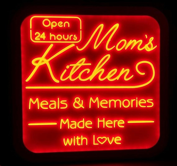 Custom Mom's Kitchen Led Wall Sign Neon Like - Color Changing Remote Control - 5 Sizes Free Shipping