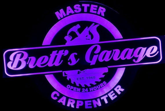 Custom Master Carpenter Led Wall Sign Neon Like - Color Changing Remote Control - 4 Sizes Free Shipping