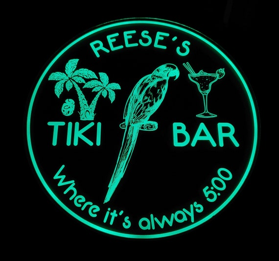 Custom Tiki Bar Sign LED Wall Sign Neon Like - Color Changing Remote Control - 4 Sizes - Made in USA - Free Shipping