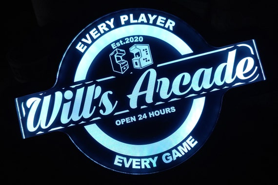Custom Arcade Game Room Led Wall Sign Neon Like - Color Changing Remote Control - 4 Sizes - Free Shipping