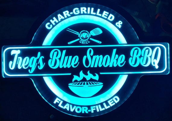 Custom Barbecue, Grill, BBQ or Smoke Led Wall Sign Neon Like - Color Changing Remote Control - 4 Sizes Free Shipping