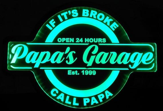 Papa's Garage Custom Acrylic Wall Led Sign Night Light Neon Like  Color Changing 4 Sizes Free Shipping
