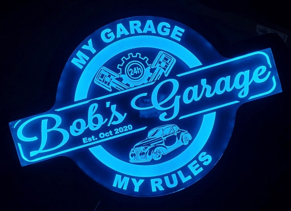 Custom Garage Sign with Cars - Trucks - Tractors - Color Changing Acrylic Wall Led Night Light Neon Like  4 Sizes Free Shipping