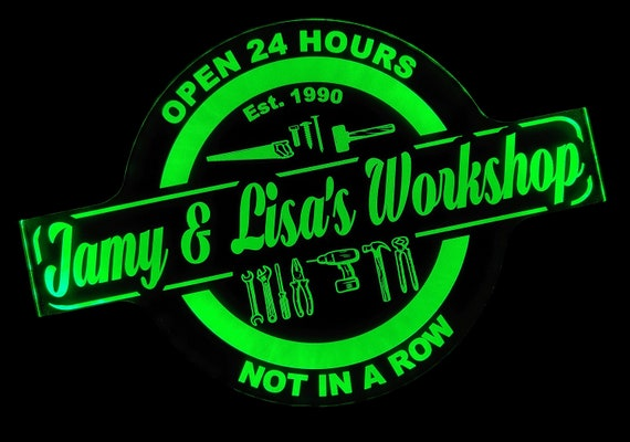 Custom Workshop Handyman Carpenter Led Wall Sign Neon Like - Color Changing Remote Control - 4 Sizes Free Shipping