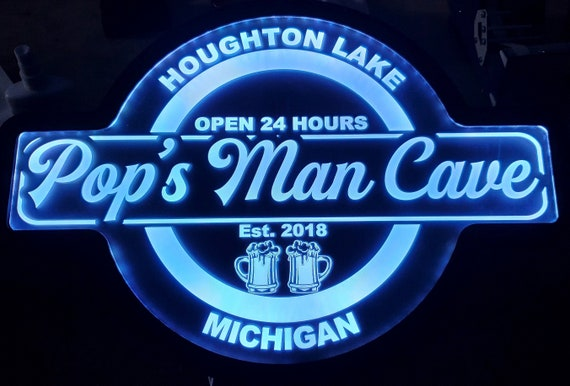 Man Cave Custom Acrylic Wall Led Sign Night Light Neon Like Dual Power Color Changing 4 Sizes Free Shipping