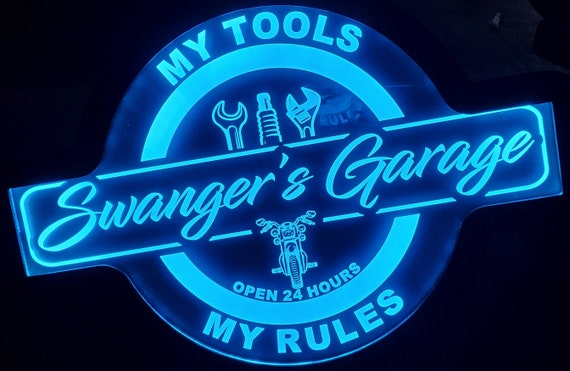 Custom Garage Sign with Motorcycle and Bike - Color Changing Acrylic Wall Led Night Light Neon Like Dual Power  4 Sizes Free Shipping