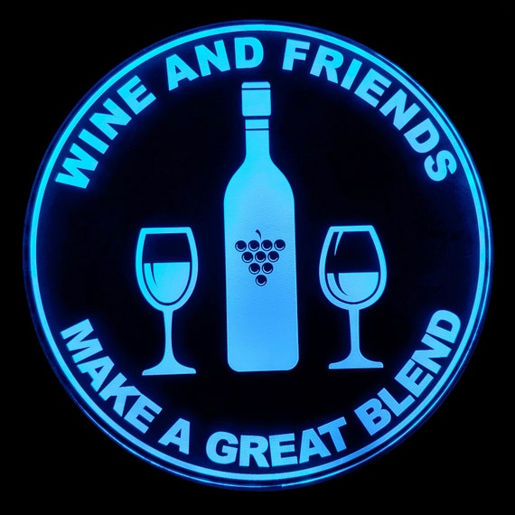 Wine and Friends LED Wall Sign Neon Like - Color Changing Remote Control - 4 Sizes Made in USA Free Shipping