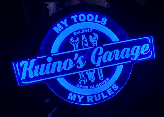 Custom My Tools, My Rules Garage Wall Led Sign Night Light Neon Like - Color Changing - 4 Sizes - Free Shipping
