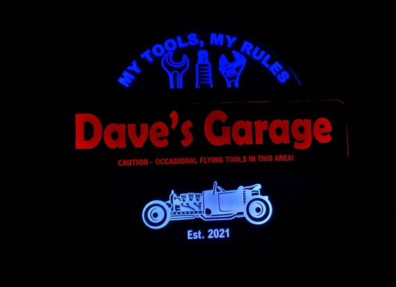 Unique Custom 3 Color Garage  Workshop Led Wall Sign Neon Like  You Can Change the Colors via Remote - 3 Sizes - Free Shipping - Made in USA
