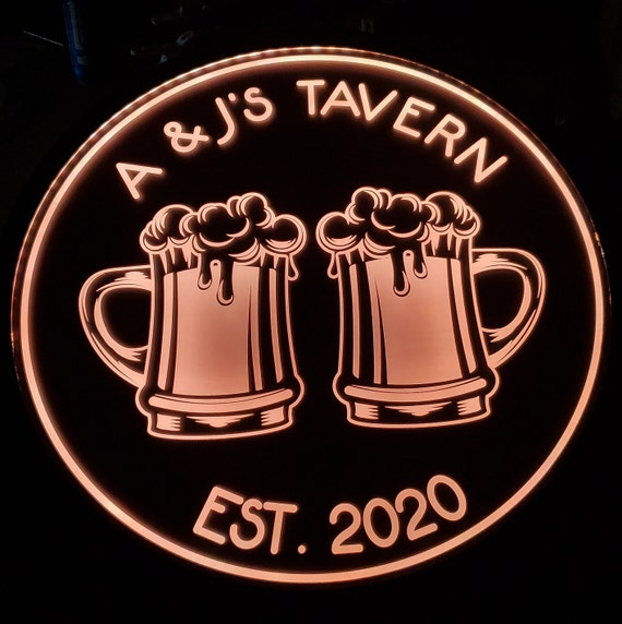 Custom Bar / Tavern Sign LED Wall Sign Neon Like - Color Changing Remote Control - 4 Sizes Made in USA Free Shipping