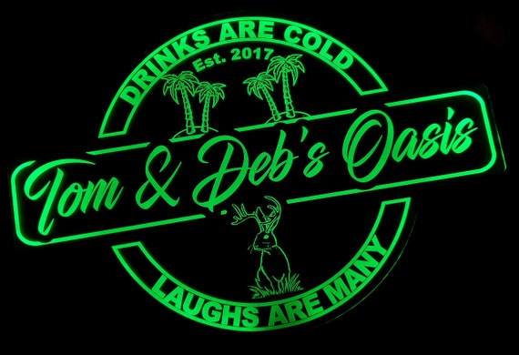 Custom Oasis Lounge or Bar Led Wall Sign Neon Like - Color Changing Remote Control - 4 Sizes Free Shipping