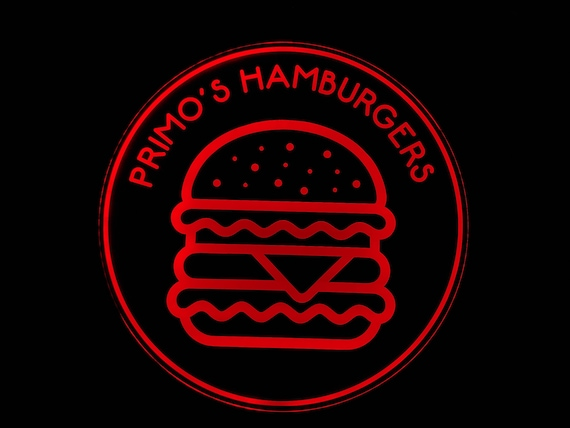 Custom Hamburger Sign LED Wall Sign Neon Like - Color Changing Remote Control - 4 Sizes Made in USA Free Shipping