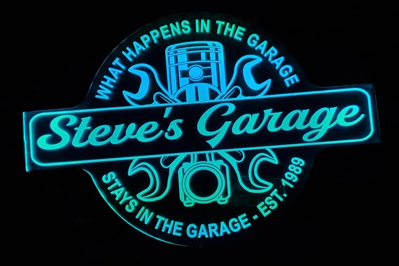 Custom Garage Sign Color Changing Acrylic Wall Led Night Light Neon Like   4 Sizes Free Shipping
