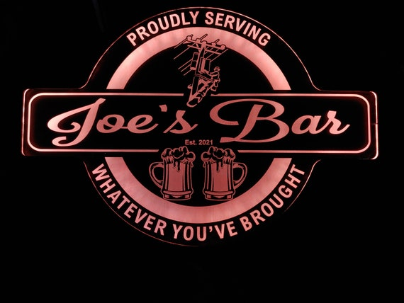 Custom Lineman Garage & Bar Sign LED Wall Sign Neon Like - Color Changing - 4 Sizes - Free Shipping