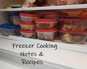 Freezer Cooking Notes & Recipes