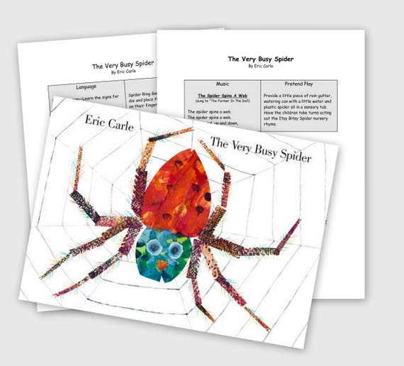 printable toddler literature guide the very busy spider etsy