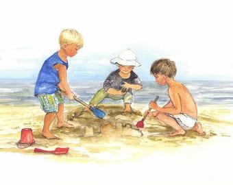 Ocean City giclee print watercolor Three Children on the Beach