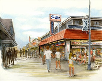 Ocean City giclee print watercolor Dolle's