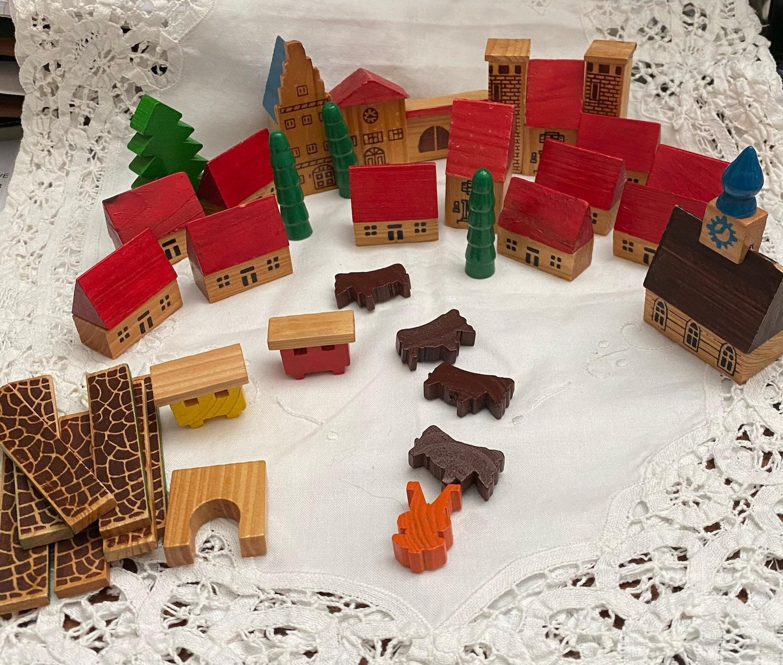 Erzebirge German wooden village, miniature town, play set, Christmas decor, vintage